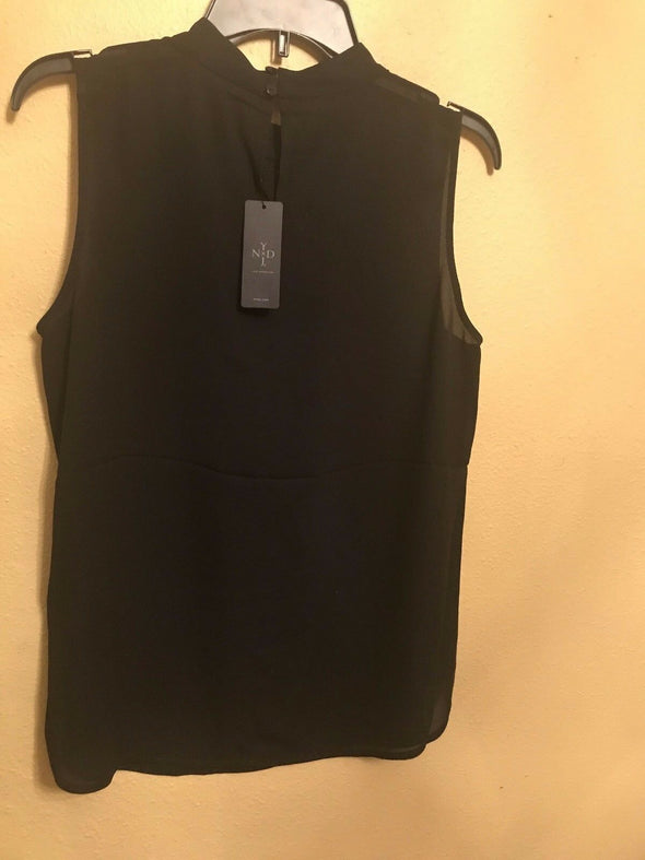 NYDJ Women's Petite Size Shirred Front Shell Blouse BLACK Sleeveless