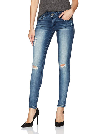 Democracy Women's Ab Solution Jegging Distressed Blue Premium Denim