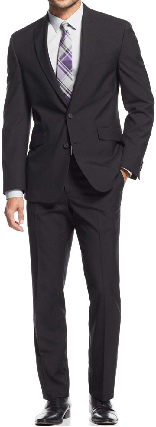 Braveman Men's Classic Fit Single Breasted 2 Piece Suit Black 40R 34W