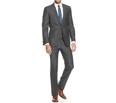 Braveman Men's Slim Fit 2 pc Suit Charcoal 34S 28W