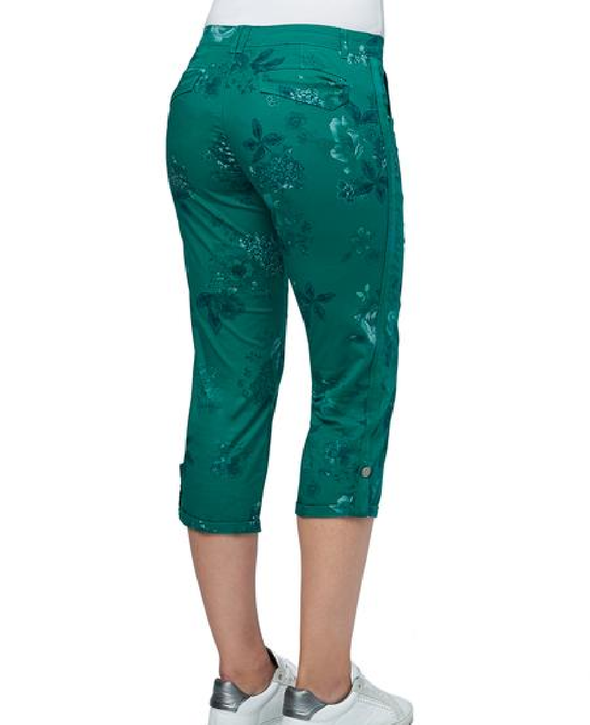 Democracy Flex-ellent Convertible Utility Crop Bright Green Floral Print W/Curve Equality