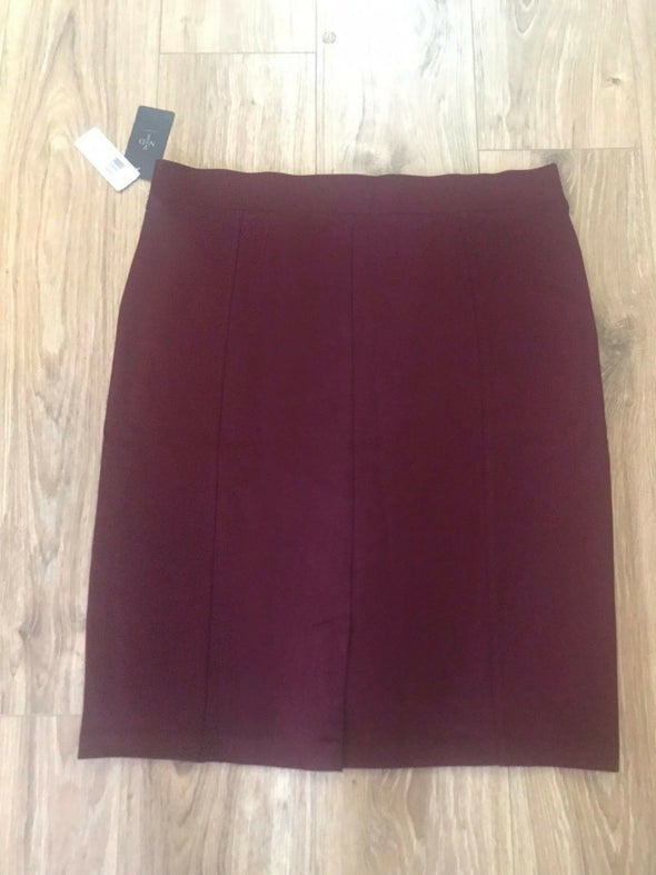 NYDJ Not Your Daughters Jeans Prudence PLMBR Burgundy Pencil Skirt Women XL
