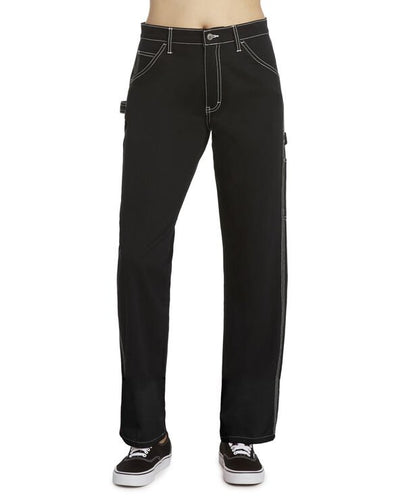DICKIE'S Juniors Relaxed Fit Black High Rise Carpenter Pants