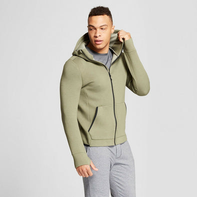 Champion Duo Dry Hooded Men's Performance Jacket Fig Green Front Zip