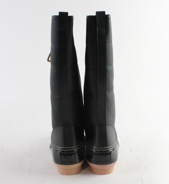 Charming Black Patent Faux Leather Lace-Up Gold Accents Rain Below Knee Boots B778