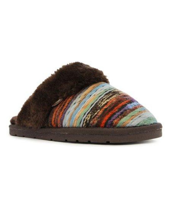 Lamo Juarez Scuff Slippers EW1470 CHOCOLATE Faux Fur Lining Comfort-Flex Outsole
