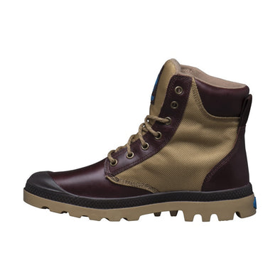 Palladium Pampa Sport Cuff WPN Unisex Leather Ankle Hiking Combat Boots in Mahogany/Dark Khaki