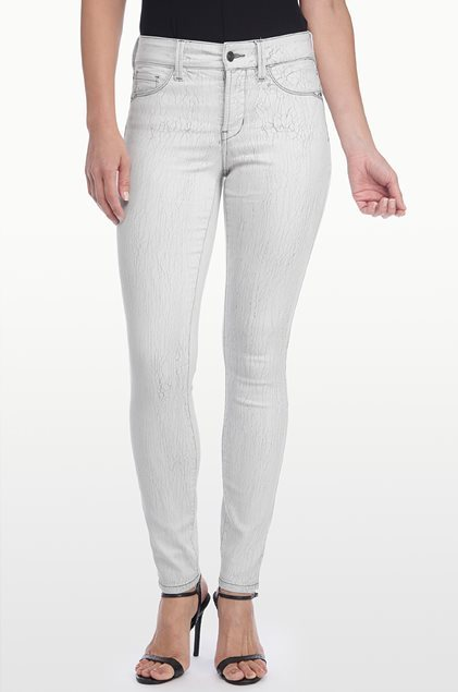 NYDJ Womens Ami Super Skinny Not Your Daughters Jeans in Grey Crackle