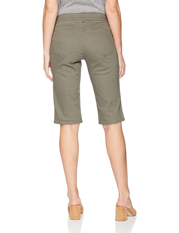"Democracy Women's 13"" Ab Solution Slimming Panels Bermuda Shorts DUSTY OLIVE"