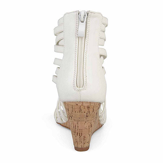 JC Journee Collection Twyla White Strappy Cork Wedge Sandal Women's Size 8
