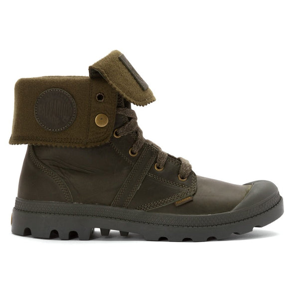 PALLADIUM Pallabrouse Baggy Army Green Men's Leather Fold Over Lace Up Hiking Boots