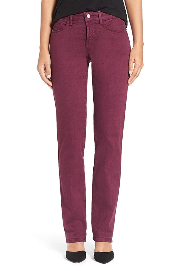 NYDJ Marilyn Straight Leg Sueded Stretch Dark Azalea Twill Pants Petite Not Your Daughters Jeans