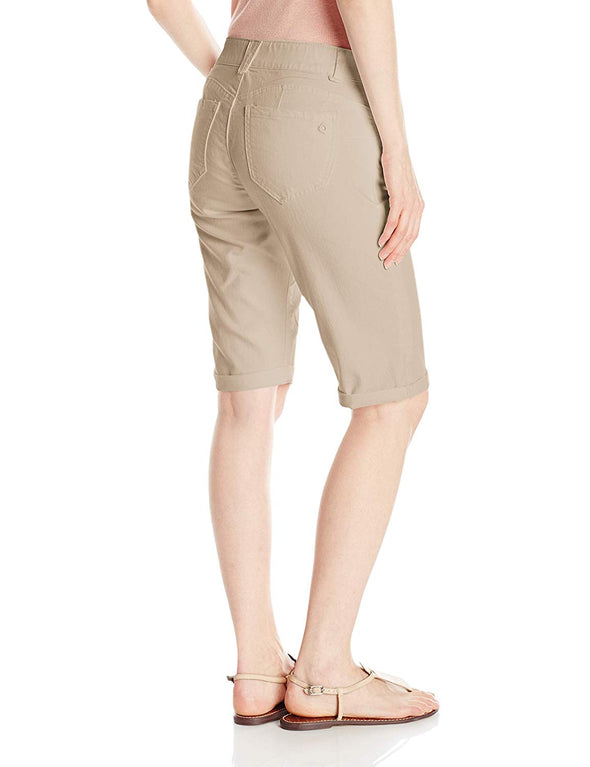 "Democracy Women's 13"" Ab Solution Slimming Panels Bermuda Shorts FLAX Beige"