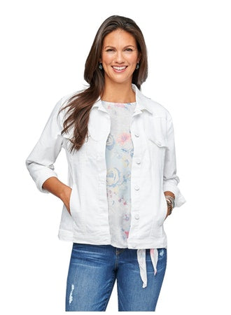 Democracy Western Style Women's White Denim Jacket