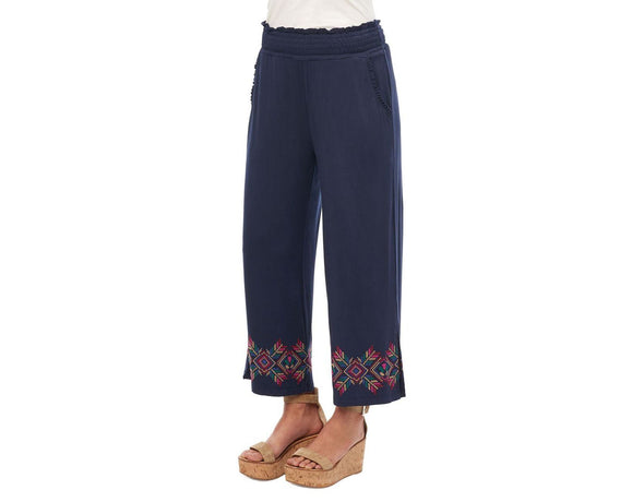 Democracy High Rise Cotton Blend Navy Smocked Waist Embroidered Palazzo Pants