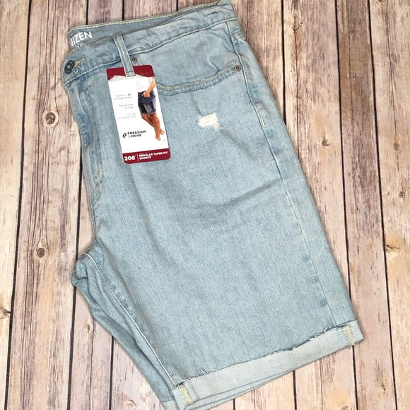 Denizen Levi's Regular Taper Fit 208 Shorts Distressed Cuffed Light Blue Wash Men's