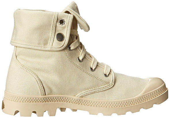 Palladium Women's Baggy Canvas Lace-Up Boots Ecru (Off White) White Size 7