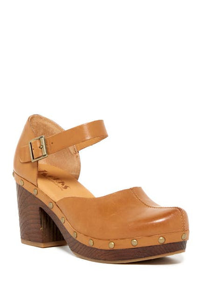 Korks Evah Platform Clogs Yellow Cathay (Tan) Women's Size 8 M