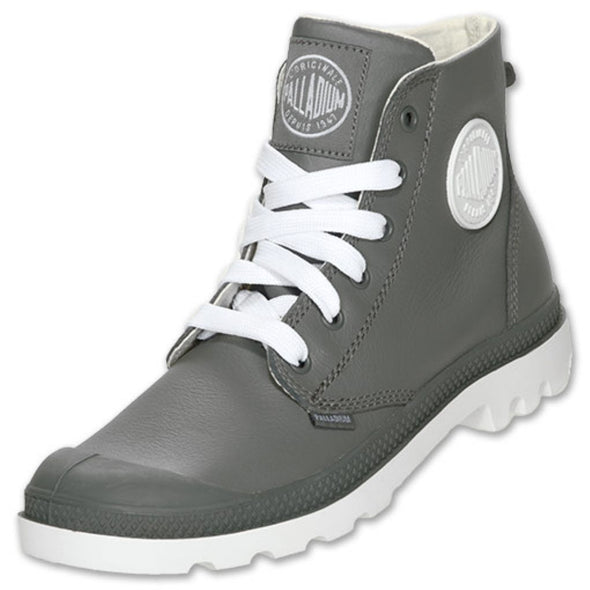 PALLADIUM Blanc Hi Leather Unisex Metal/White Lace Up High Top Ankle Boots