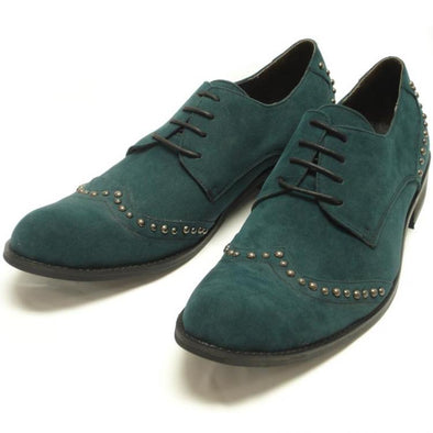Fiesso by Aurelia Garcia FI-8430 Green Velvet Hand Crafted Shoes with Metal Studs