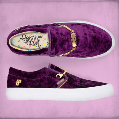 Supra Suede Cuba LX Flexin (Purple Velvet) Slip-On Men's Shoe Gold Chain