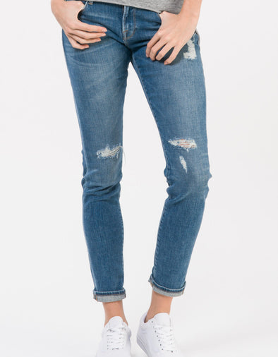 Frame Denim Le Garcon Brooks Medium Wash Distressed Relaxed Cuffed Jeans 30 (10)