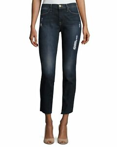 Frame Denim Le High Skinny Crop Oasis Dark Wash Distressed Raw Hem Size 29 (6)