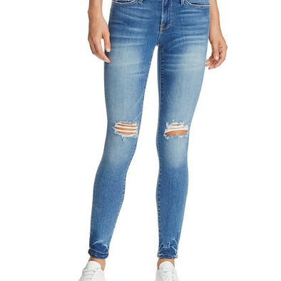Frame Le High Skinny Jeans Roman Wash Distressed at Knees SZ 28 (6)