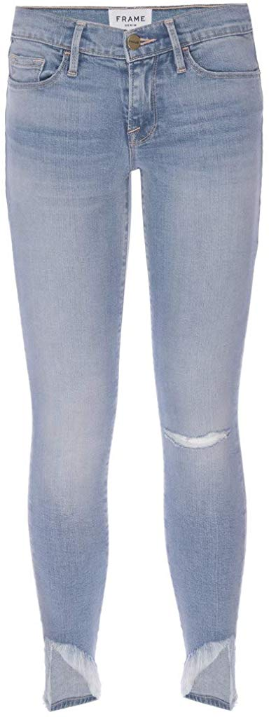 Frame Le Skinny de Jeanne Scampi Light Blue Wash Asymetrical Hem 27 (4)