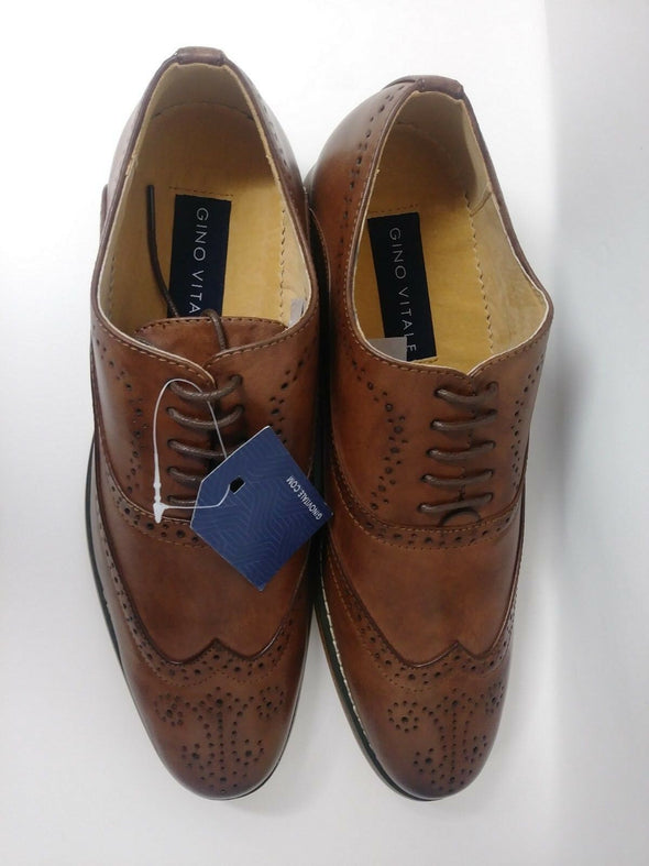 Gino Vitale Men's Wing Tip Brogued Oxford Dress Shoes GV002 Brown Size 10.5