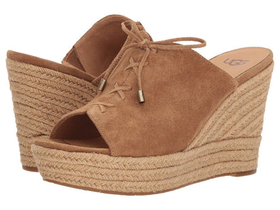 UGG Australia Women's Giorgia CHESTNUT Suede WEDGE Slip-On SANDAL