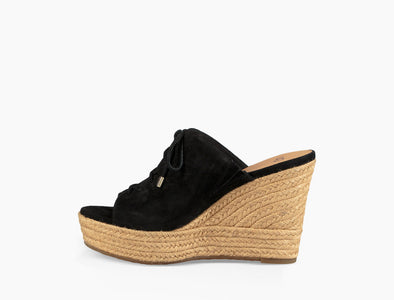 UGG Australia Giorgia BLACK Suede WEDGE Slip-On SANDAL