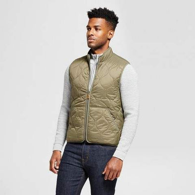 Goodfellow & Co Men's Lightweight Quilted Full Zipper Vest Size 2XB Muddied Basil