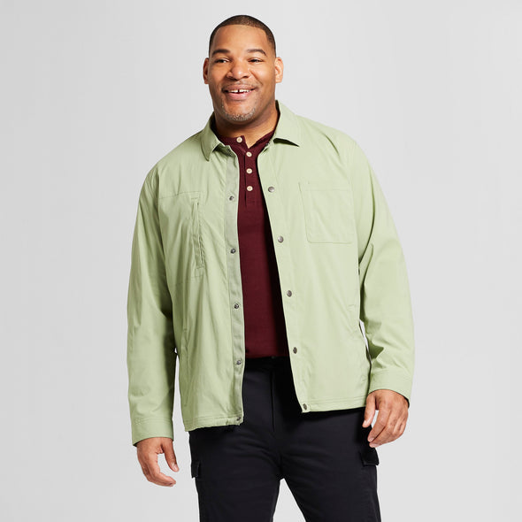 Goodfellow Men's Standard Fit Military Coach Water Resistant Jacket in Pioneer Sage