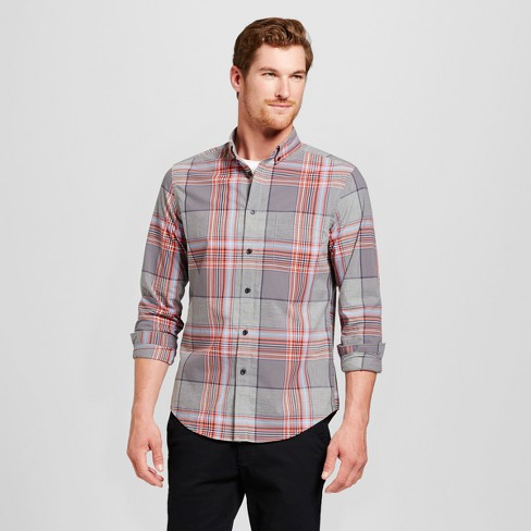 Goodfellow & Co Silver Wing Men's Plaid Greys/Reds Long Sleeve Shirt Slim Fit