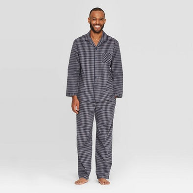 Goodfellow 2 Piece Men's Pajama Set Xavier Navy Plaid 100% Cotton Long Sleeves