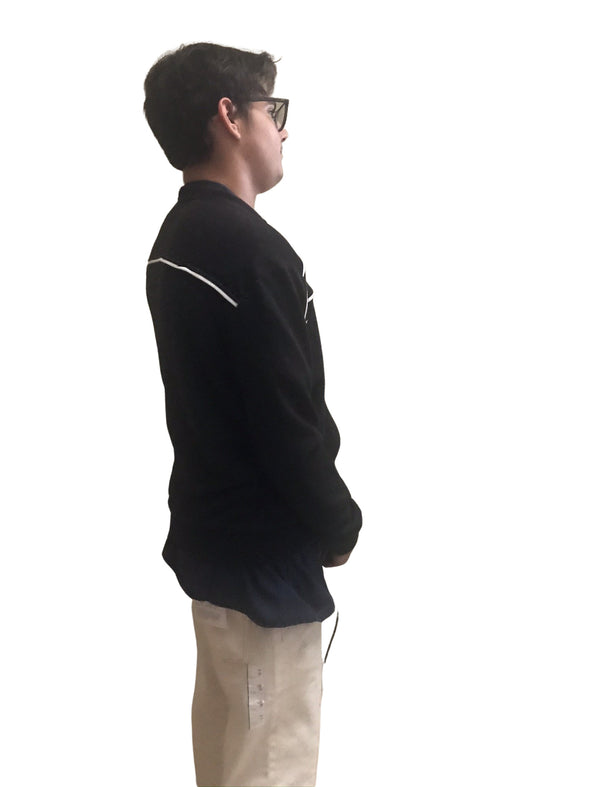 Jackson Black with White Piping Pocketed Front Zip Men's Jacket Sweatshirt