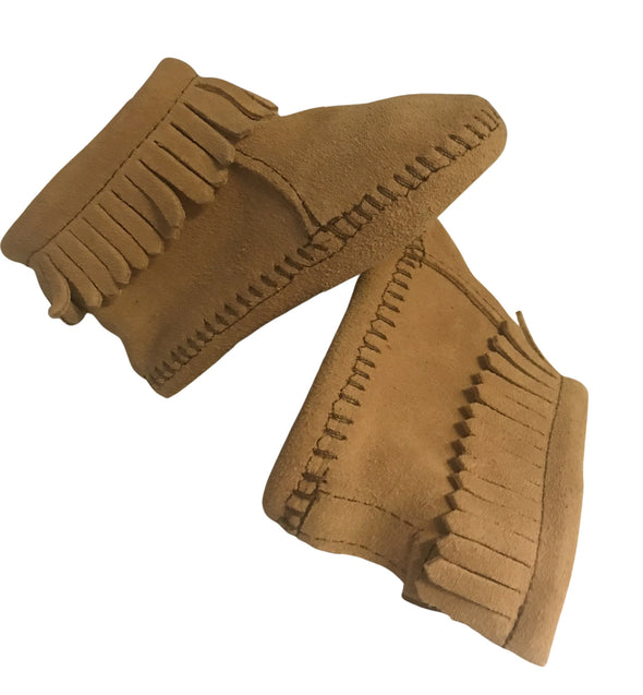 Minnetonka Moccasin Boots Soft Sole Back Flap Fringe Suede Infant Tan #1187