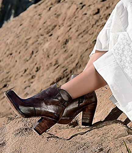 Bed Stu Isla Chocolate Driftwood Leather Almond Toe Chunky Heel Side Zip Bootie SZ 6