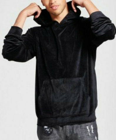 Jackson Black Soft Velvety Feel Velour Hoodie Sweatshirt Front Pocket Stylish