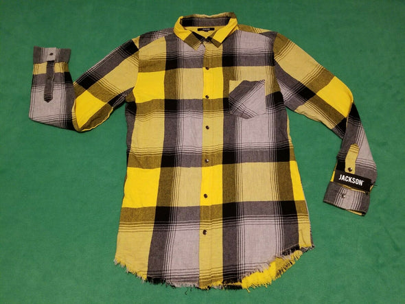 Jackson Men's Yellow and Black Flannel Plaid Long Sleeve Shirt Raw Edge