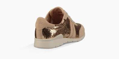 UGG BIG GIRL'S TREADLITE Glitter Gold LACE-UP Suede Leather Sneaker JAIDA