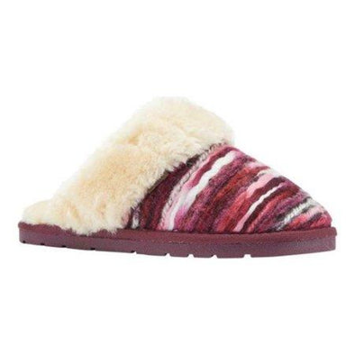 Lamo Juarez Scuff Slippers EW1470 Color PLUM Faux Fur Lining Comfort-Flex Outsole