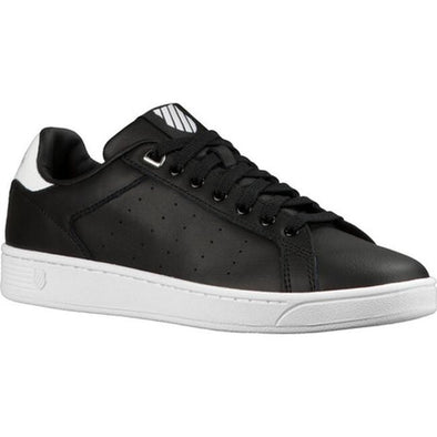 K- SWISS Clean Court CMF Women's Leather Low Top Tennis Shoes in Black/White Hologram
