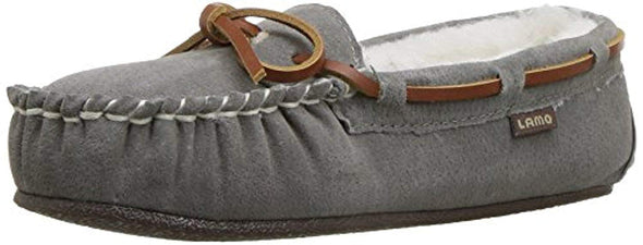 Lamo Britain Moc ll Leather Lace Grey Color Suede Faux Fur Lining Slip-On Women's Moccasin