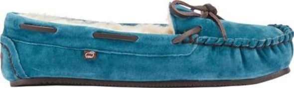 Lamo Britain Moc ll Leather Lace Teal Color Suede Faux Fur Lining Slip-On Women's Moccasin