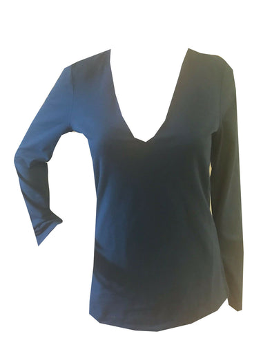 JAMES PERSE Laurel Blue-Green Long Sleeve Plain Stretch V Neck Shirt Women's Size Medium (2)