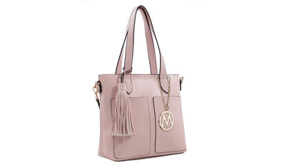 MKF Basic Tote Collection by Mia K Farrow Light Pink Vegan Leather Matching Pouch