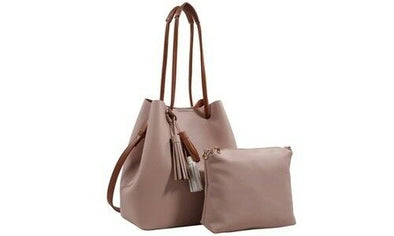 MKF Mia K Farrow Collection Nude Hobo Bag with Matching Pouch Vegan Leather