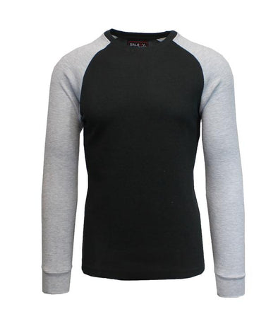 NWOT GALAXY by HARVIC Men's Raglan Thermal Long Sleeved Shirt in Black/Grey